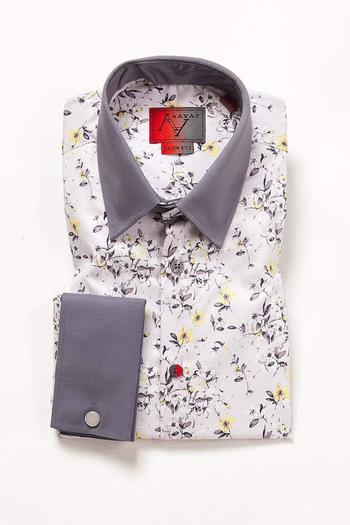 aayatmenswear Light Grey/Yellow Floral Printed Shirt