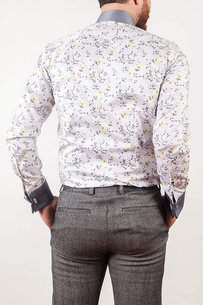 aayatmenswear Light Grey/Yellow Floral Printed Shirt Copy of MONTPELLIER