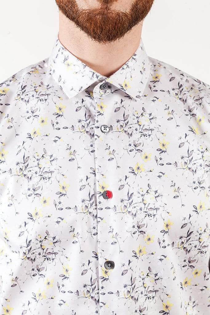 aayatmenswear Printed button Up Shirts In Light Grey/Yellow In Floral Prints MONTPELLIER