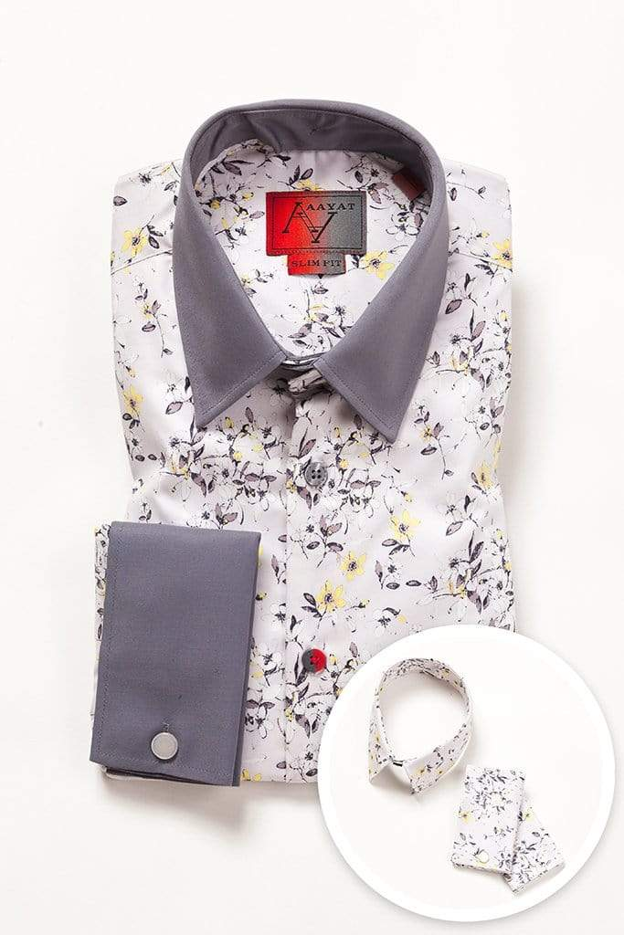aayatmenswear French Cuff Shirts In Light Grey/Yellow Floral Prints MONTPELLIER
