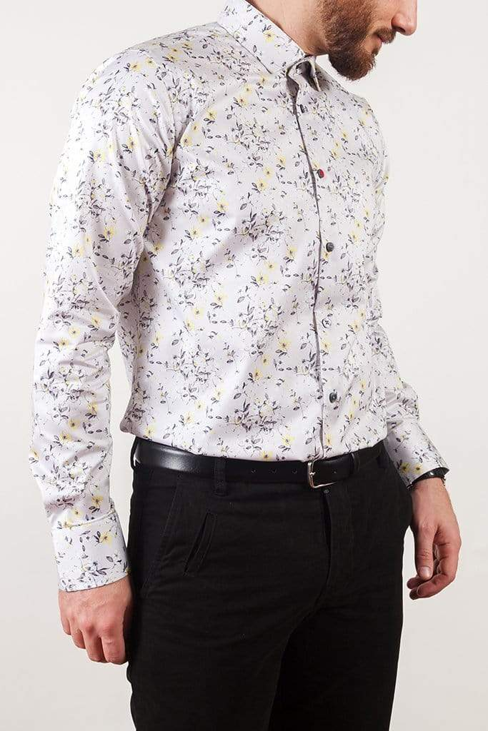 aayatmenswear Light Grey/Yellow Floral Printed Shirt MONTPELLIER