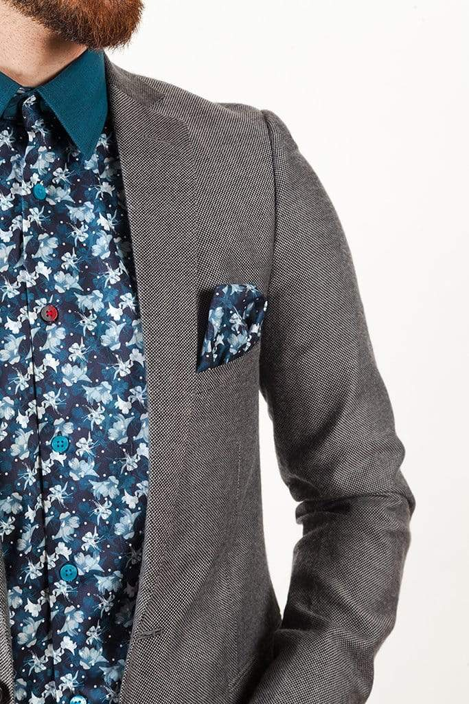 aayatmenswear Navy/Light Blue Floral Printed Shirt CANNES