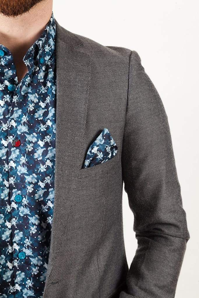 aayatmenswear Navy/Light Blue Mens Floral Shirt CANNES