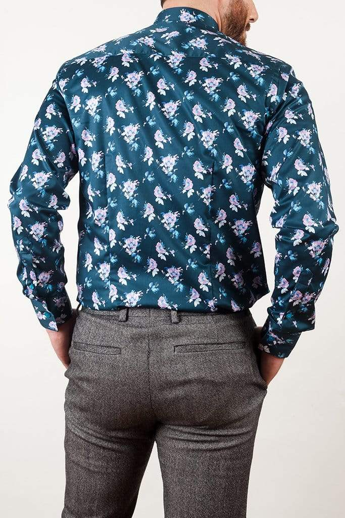 aayatmenswear Printed Shirts Online In Navy/Pink Floral Prints ST.TROPEZ