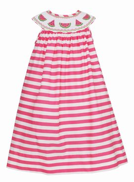 Claire & Charlie Watermelon Pink Stripe Smocked Bishop Dress