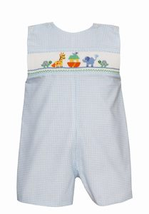 Petit Bebe Light Blue Check Smocked Noah's Ark Jon Jon