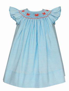 Petit Bebe Baby Girls Turquoise Stripe Smocked Crabs Angel Sleeve Bishop Dress