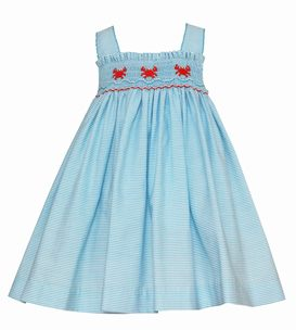 Petit Bebe Baby Girls Turquoise Stripe Smocked Crabs Dress