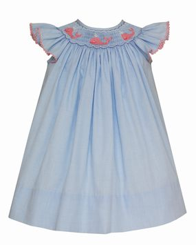 Petit Bebe Baby/Toddler Girls Light Blue Gingham Whale Angel Sleeve Dress