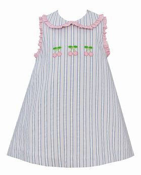 Petit Bebe Cherry A Line Dress with Ruffle Collar and Sleeves