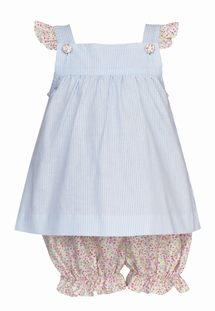 Petit Bebe Light Blue Stripe Bloomer Set with Floral Bloomers