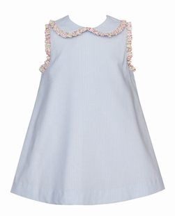 Petit Bebe Light Blue Stripe A Line Dress with Floral Ruffle Collar and Sleeves