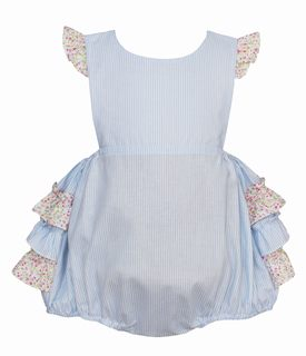 Petit Bebe Light Blue Stripe Bubble with Floral Ruffle Collar and Sleeves - 18M