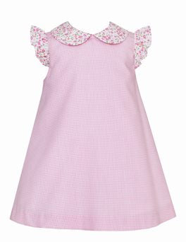Petit Bebe Pink Gingham A Line Dress with Floral Collar and Angel Sleeve