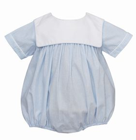 Petit Bebe Blue Seersucker Bubble with Collar and Piping - 9M