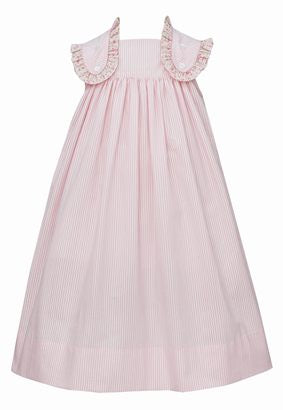 Claire and Charlie Sleeveless Jumper - Light Pink Stripe with Pink Floral Trim