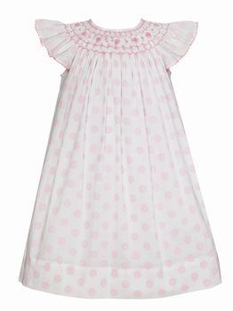Anavini Angel Sleeve Bishop Dress White with Pink Dots Sheer Voile