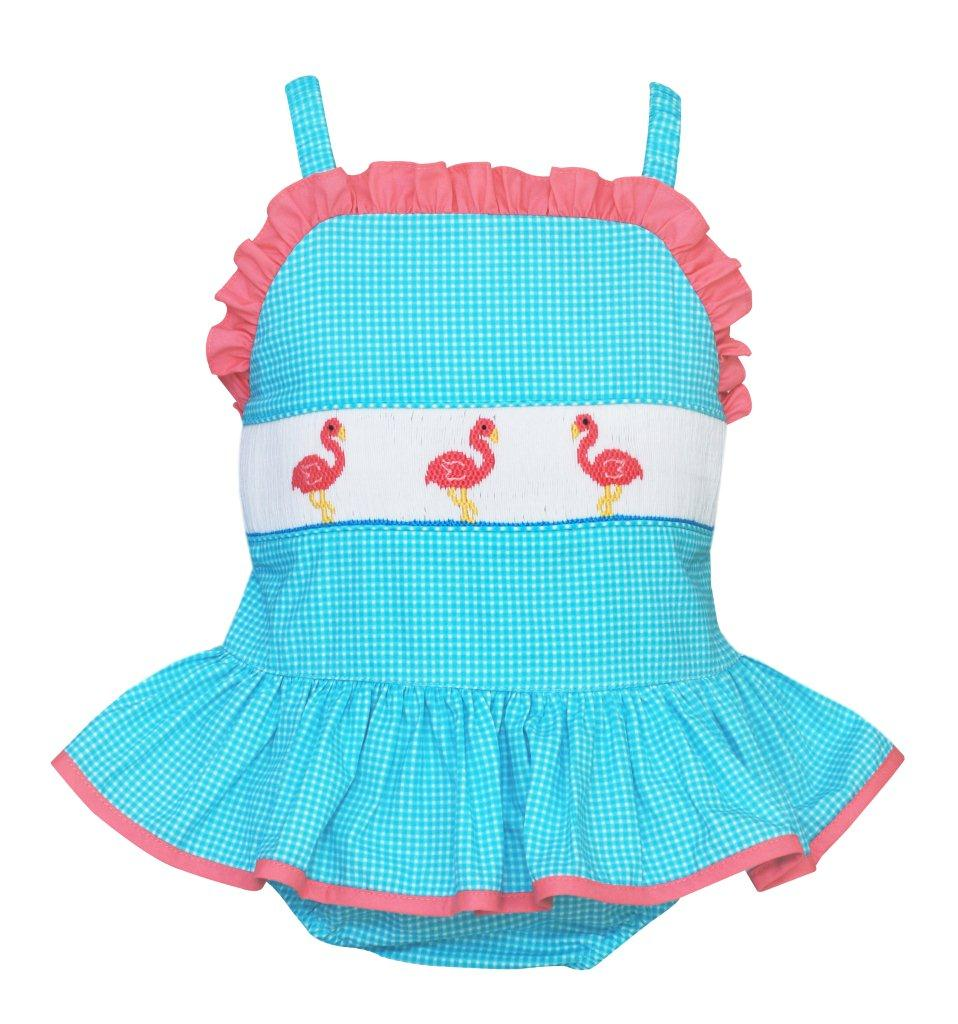 Anavini Turquoise Check Smocked Pink Flamingos Ruffle One Piece Swimsuit