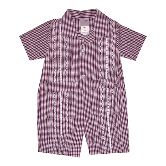 Aggie Boy's Gingham Gameday Guayabera Romper