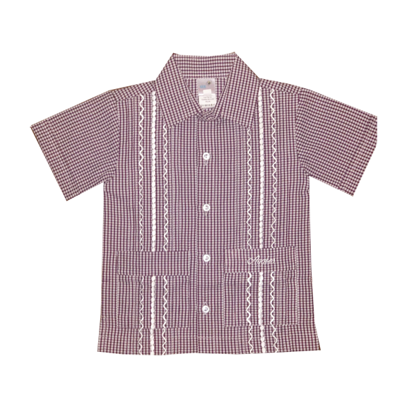 Aggie Boy's Gingham Gameday Guayabera Shirt