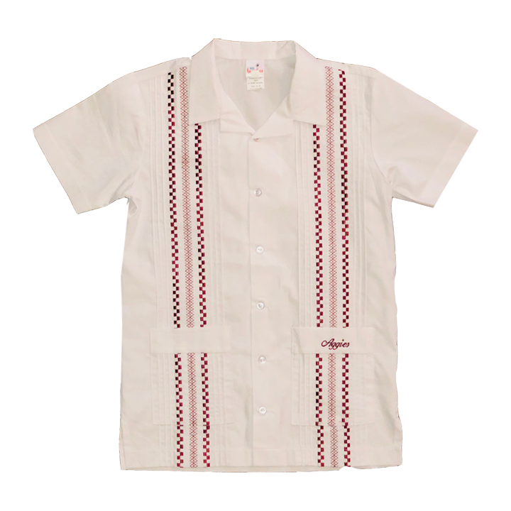 Aggie Boy's Waltham White Gameday Guayabera Shirt