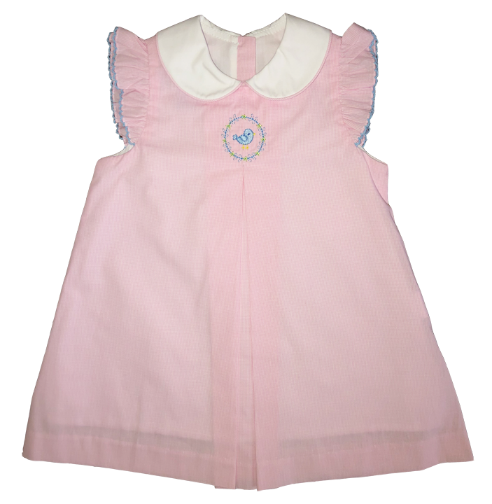 Anavini Pink Gingham Sleeveless Float Dress with Collar and Embroidered Bird