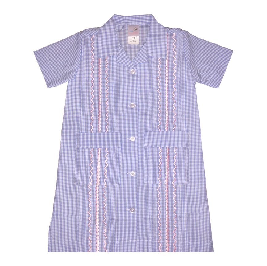 Light Blue and White Check Short Sleeve Guayabera Dress w/ Light Pink Thread