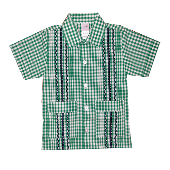 Green and White Check Guayabera Shirt with Navy Thread