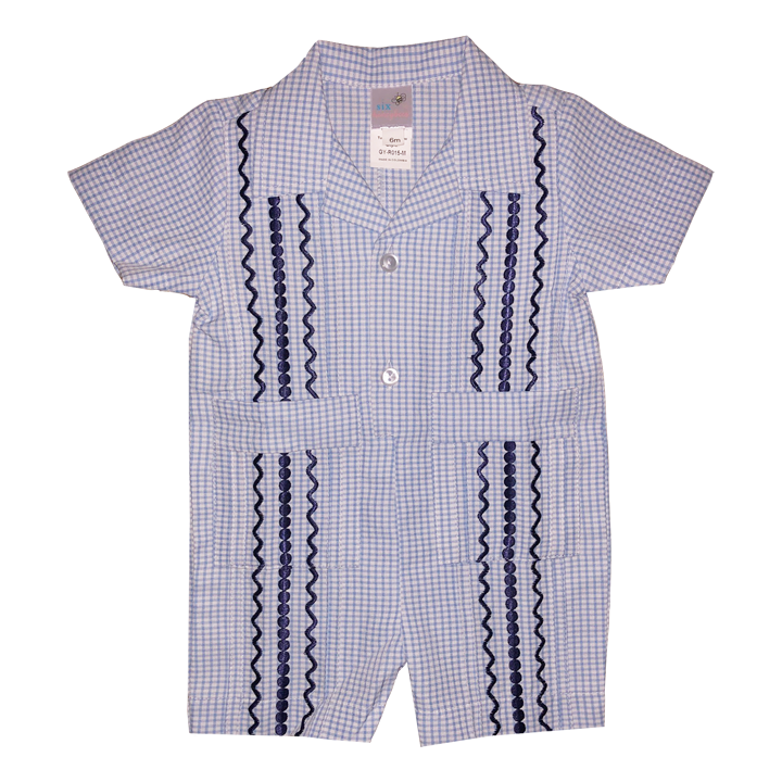 Hamptons Blue and White Check Guayabera Romper with Navy Thread