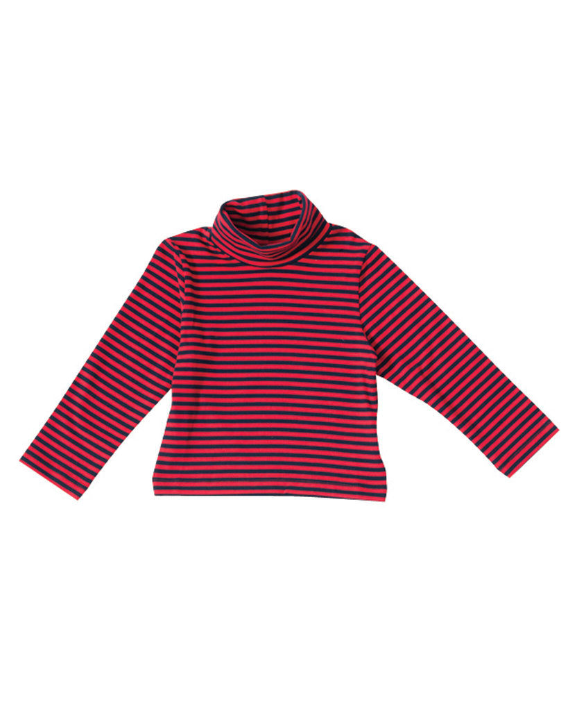 Busy Bee Kids Red and Navy Stripe Turtleneck