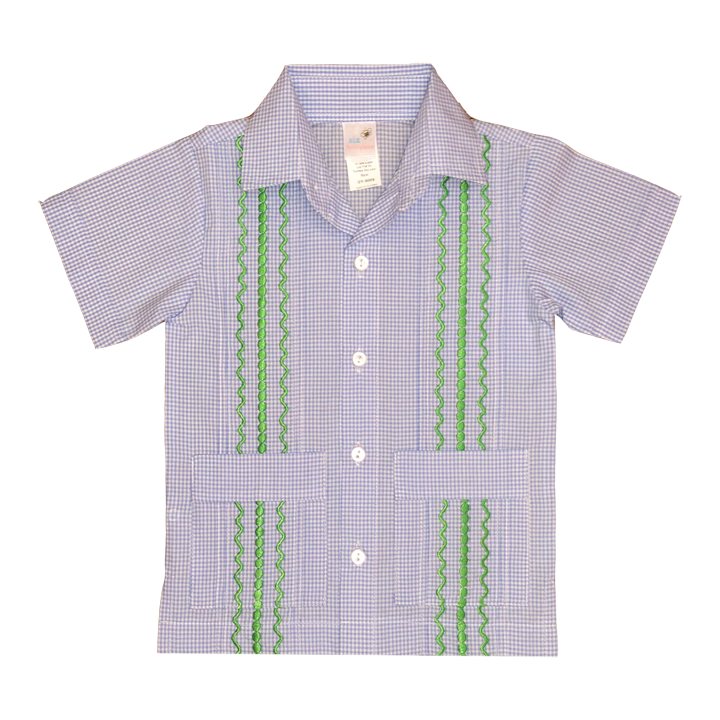 Light Blue and White Check Guayabera with Kelly Green Thread