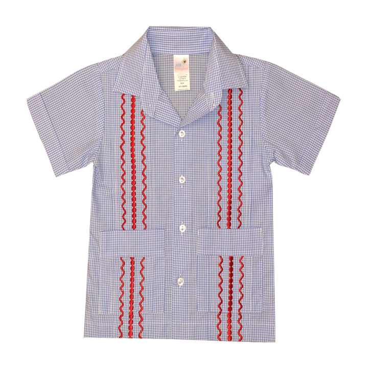 Light Blue and White Check Guayabera with Red Thread