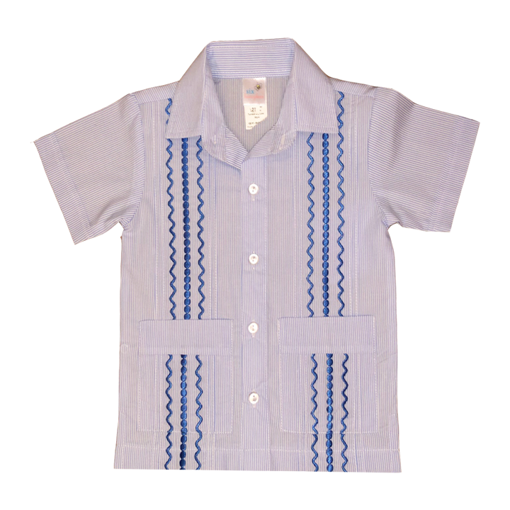 Light Blue and White Stripe Guayabera with Royal Blue Thread