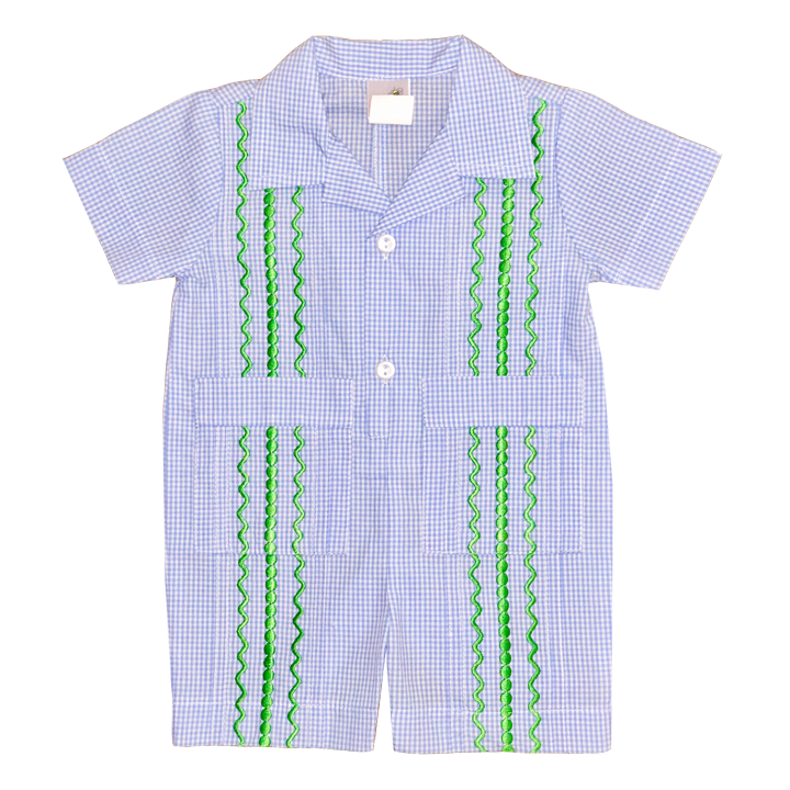 Light Blue and White Check Guayabera Romper with Kelly Green Thread
