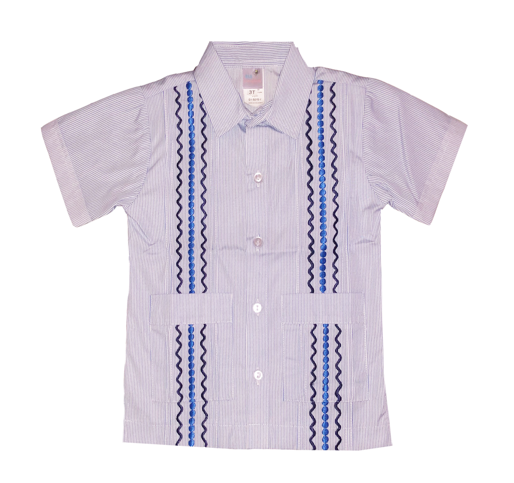 Nantucket Navy Stripe Guayabera with Navy and Royal Blue Thread