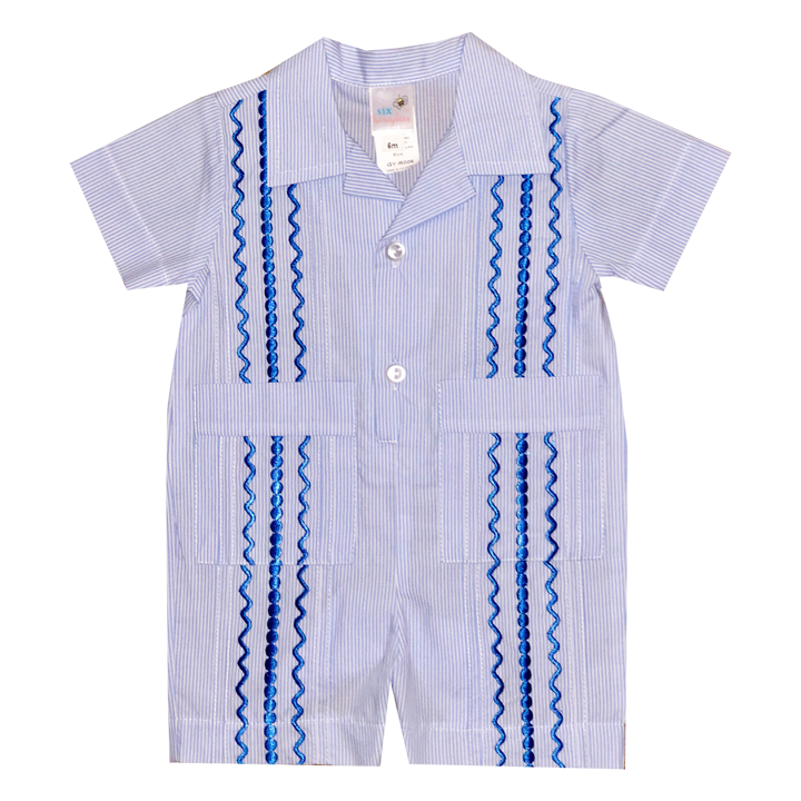 Light Blue and White Stripe Guayabera Romper with Royal Blue Thread