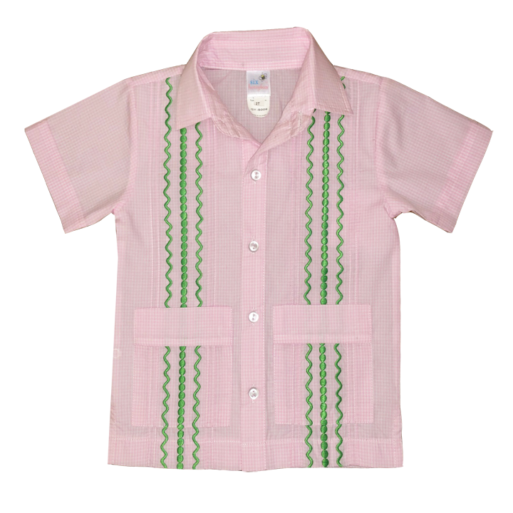 Pink and White Check Guayabera with Kelly Green Thread