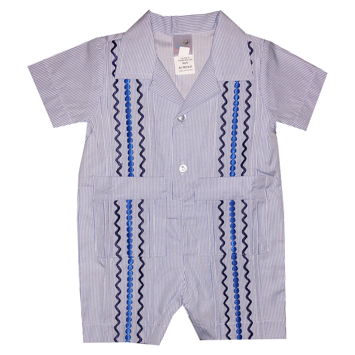 Nantucket Navy Stripe Guayabera Romper with Navy and Royal Blue Thread
