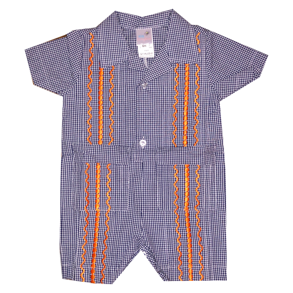 Navy and White Check Guayabera Romper with Orange Thread