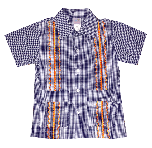Navy and White Check Guayabera Shirt with Orange Thread