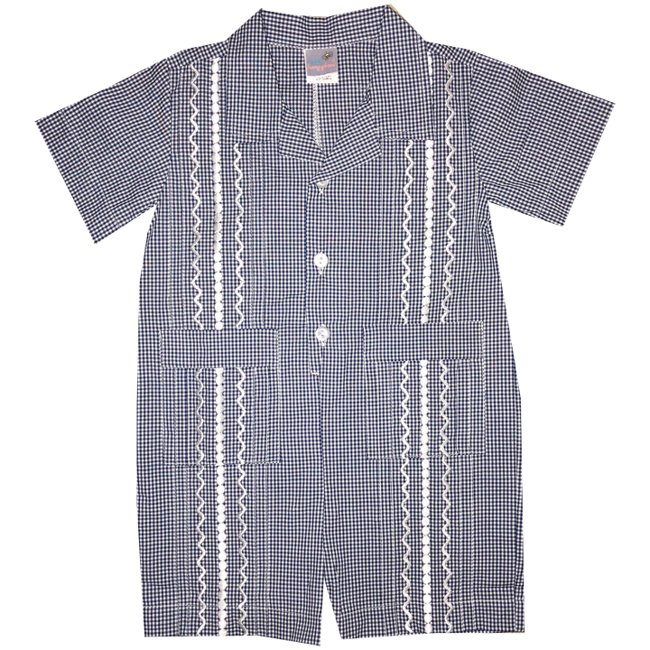 Navy and White Check Guayabera Romper with White Thread