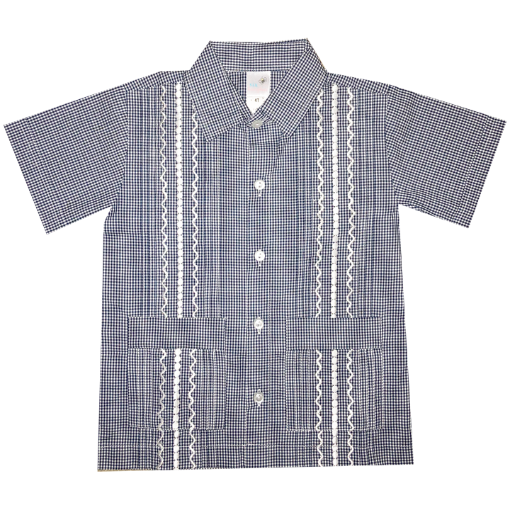 Navy and White Check Guayabera with White Thread