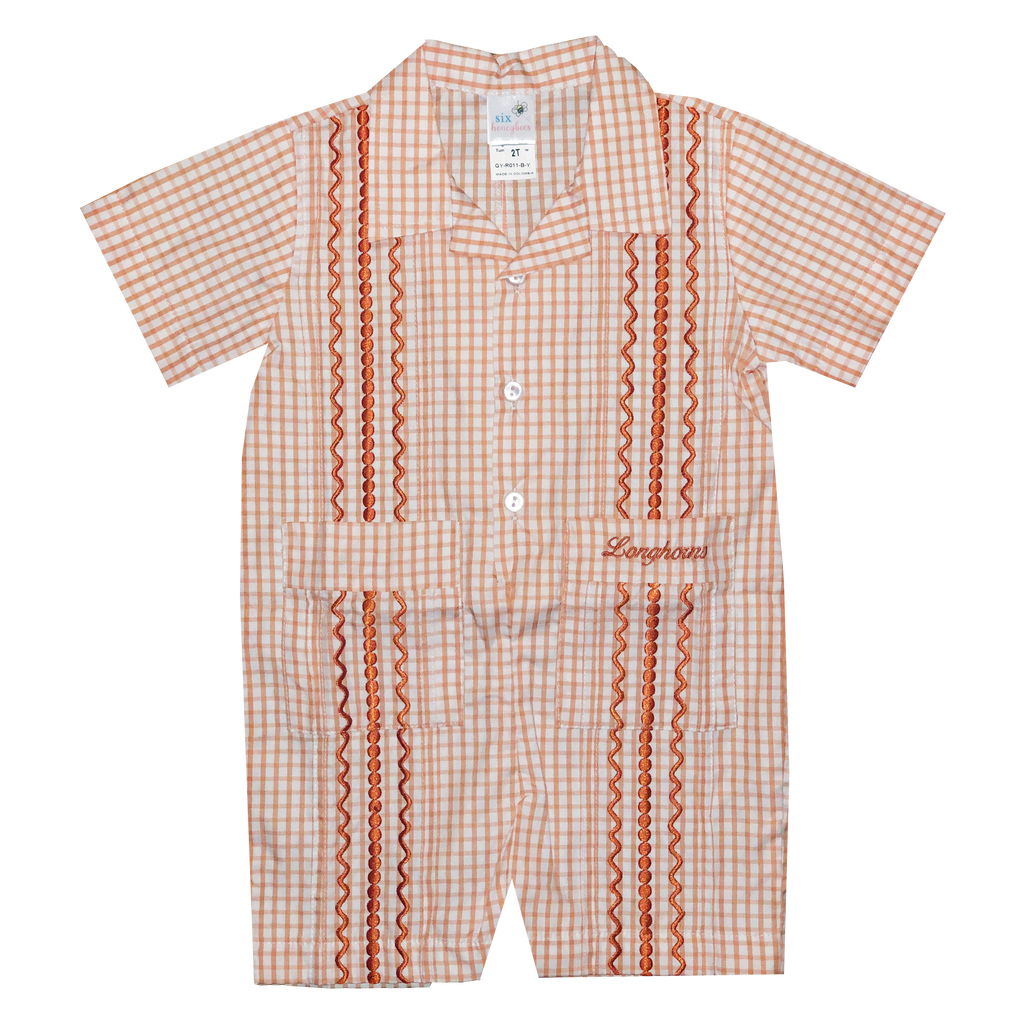 Longhorn Boy's Gingham Gameday Guayabera Romper