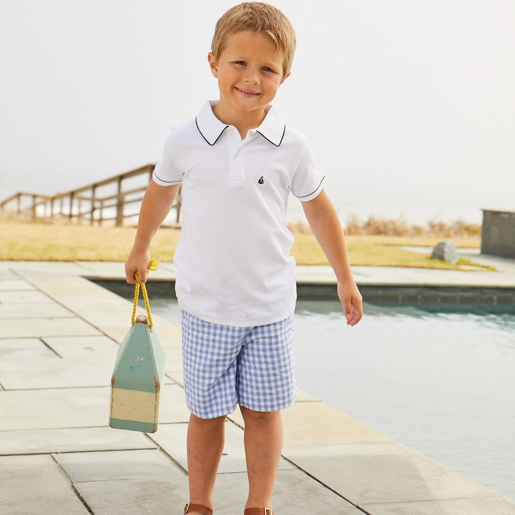 Nantucket Kids Preston Reversible Shorts - Hydrangea Blue and Gingham
