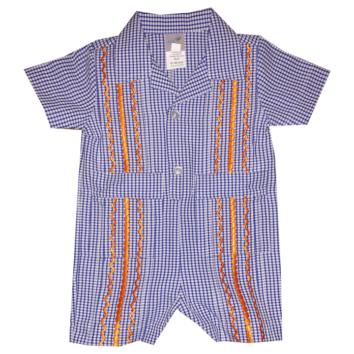 Royal Blue and White Check Guayabera Romper with Orange Thread