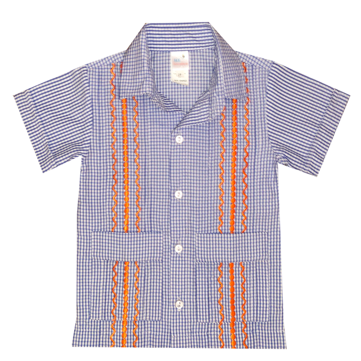 Royal Blue and White Check Guayabera with Orange Thread