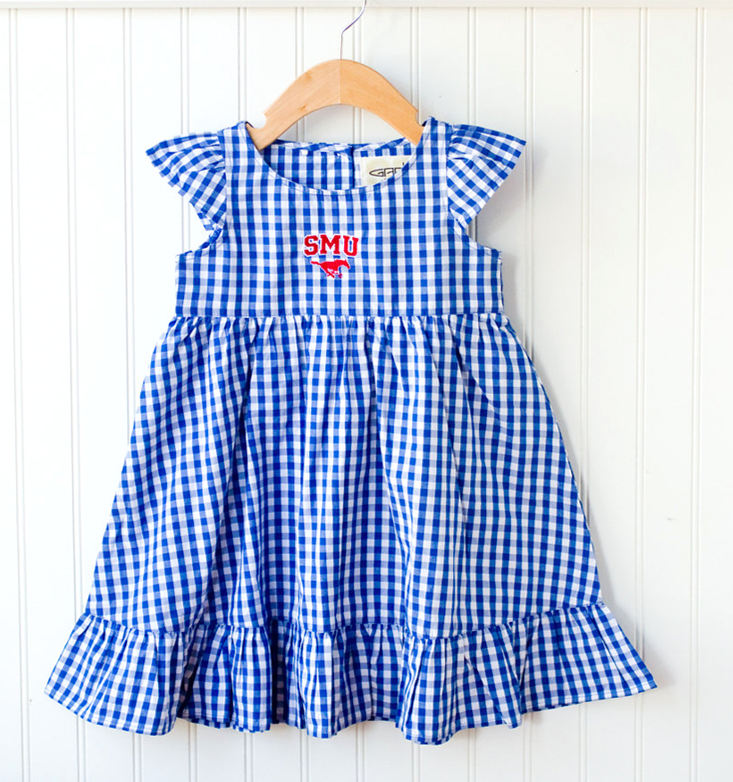 SMU Gingham Dress - Six Honeybees,  - Classic Children's Clothing,