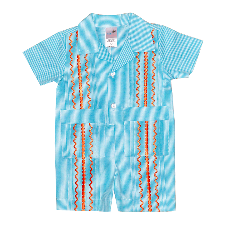 Turquoise and White Check Guayabera Romper with Orange Thread