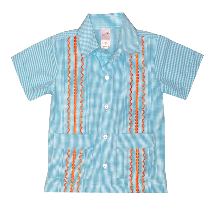 Turquoise and White Check Guayabera with Orange Thread