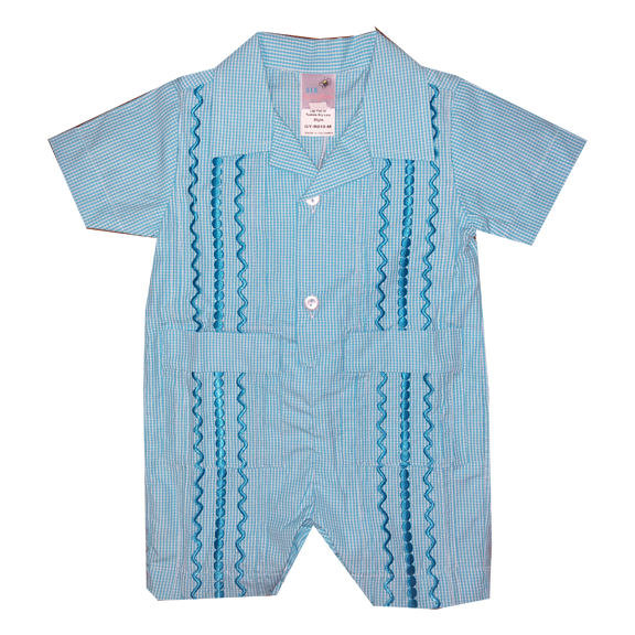 Turquoise and White Check Guayabera Romper with Turquoise Thread